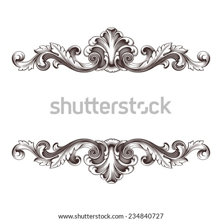 vintage border  frame filigree engraving  with retro ornament pattern in antique baroque style ornate decorative antique calligraphy design   - stock photo