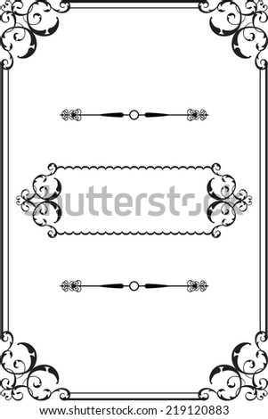 Vintage border frame is on white - stock photo