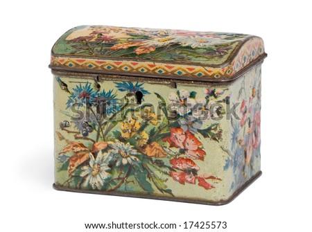 Vintage box for tea - stock photo