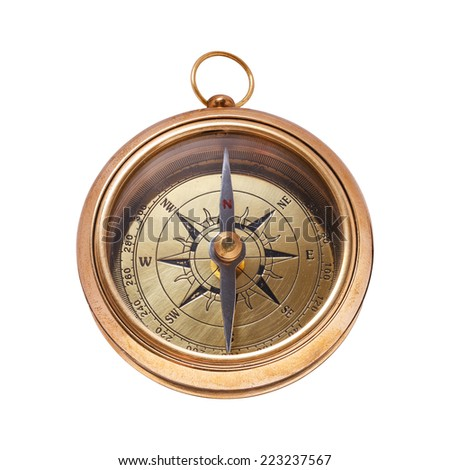 Vintage brass compass isolated on white background  - stock photo