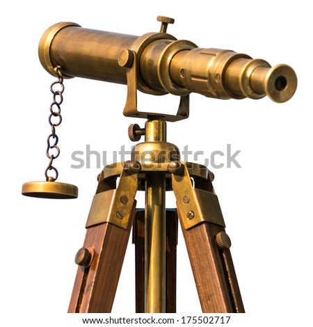 vintage brass telescope on white background - stock photo