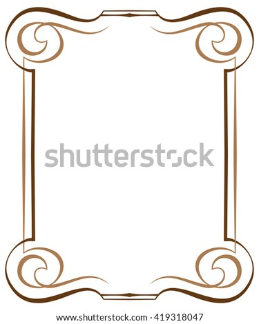 Vintage brawn multilayer vertical frame with swirls - stock photo
