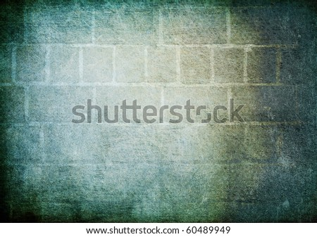 Vintage brick wall background. Cold gamut - stock photo