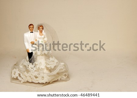 Vintage bride and groom - stock photo