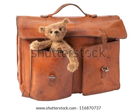 Vintage Briefcase with cute Teddy Bear. isolated on white background - stock photo