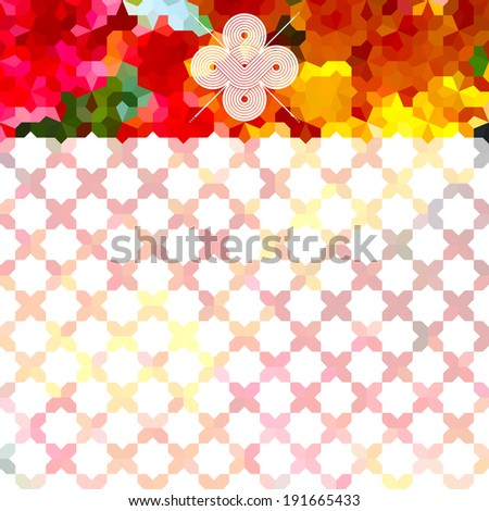 Vintage bright minimalistic background with geometric ornament and white label. Raster version - stock photo