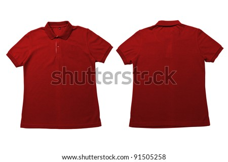 Vintage Bright Orange  color Polo Shirt with white background Men Front and back Polo Shirt - stock photo