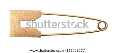 Vintage brooch or safety pin on white background, - stock photo