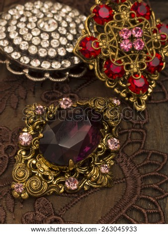vintage brooches - stock photo