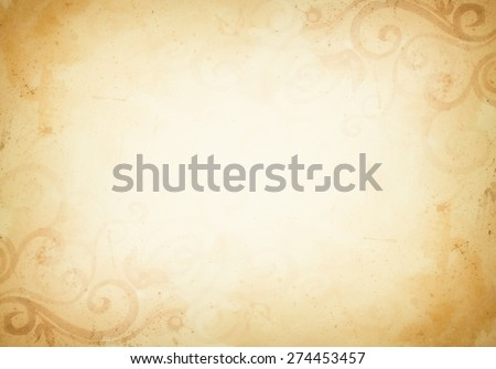 vintage brown background with design elements - stock photo