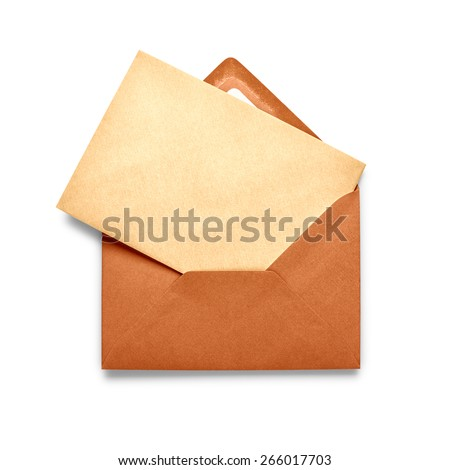Vintage brown envelope with card isolated on white background.  - stock photo