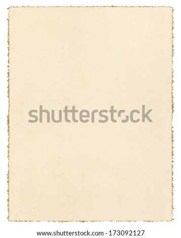 Vintage brown paper isolated on white with a decorative deckled edge.   - stock photo
