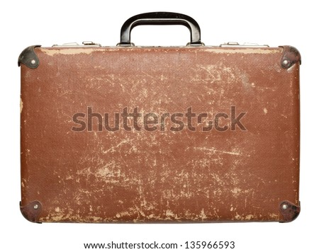 Vintage brown suitcase isolated on white background - stock photo