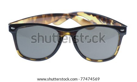vintage brown sunglasses isolated on a white background - stock photo