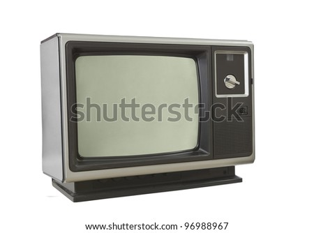 Vintage brown television set isolated on white. - stock photo