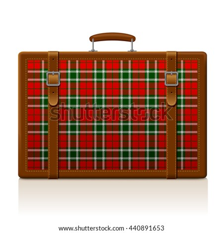 Vintage brown threadbare suitcase with tartan ornament isolated on white. Voyage and traveling symbol and metaphor. 3D illustration. Contain the Clipping Path  - stock photo
