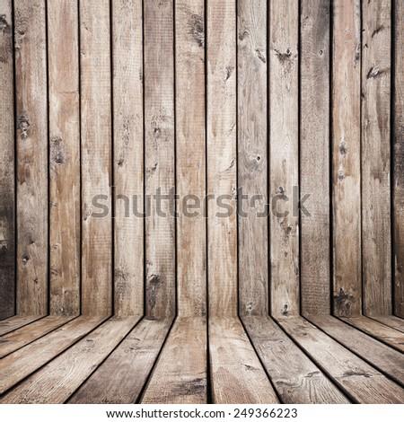 vintage brown wooden planks interior background - stock photo