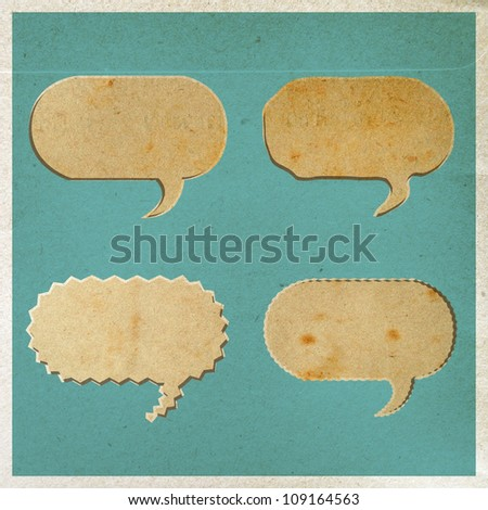 vintage bubble talk tag old paper background - stock photo