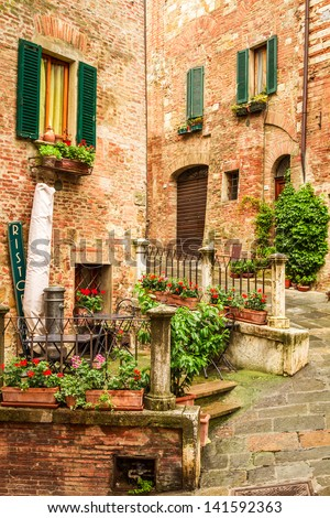 Vintage buildings in Italy - stock photo