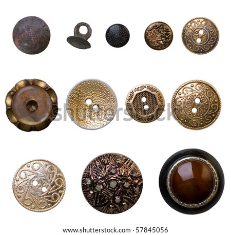 vintage buttons - stock photo