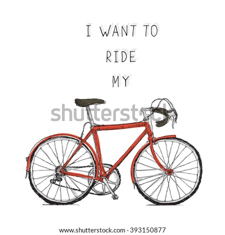 Vintage bycicle hand drawn poster. Raster version - stock photo