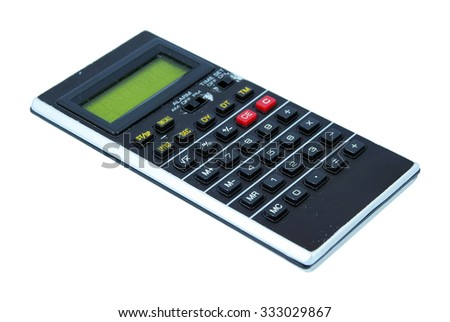 Vintage calculator tool. Old technology. - stock photo