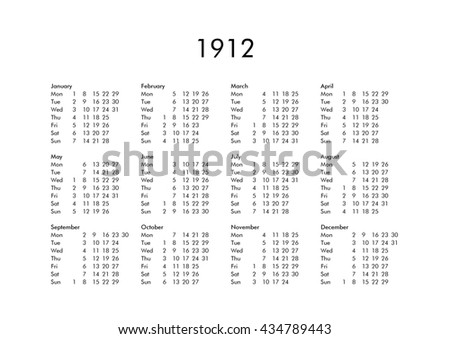 Vintage calendar of year 1912 with all months - stock photo
