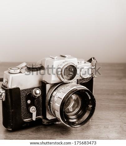 Vintage camera, antique piece - stock photo
