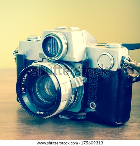 Vintage camera, antique piece, Instagram style - stock photo