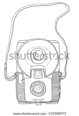 vintage camera b&w - stock photo