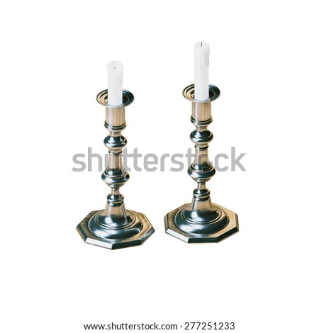 Vintage candelabras with wax candles isolated on white background  - stock photo