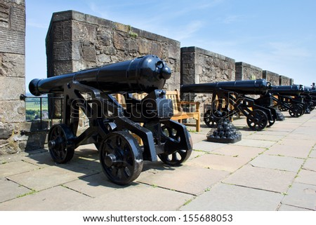 Vintage cannon at Stirling Castle, Scotland - stock photo