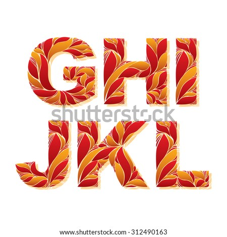 Vintage capital letters with herbal autumn seasonal ornament. Fiery font with floral pattern, G, H, I, J, K, L. - stock photo