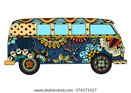 Vintage car a mini van in Tangle Patterns style. Hand drawn image. The popular bus model in the environment of the followers of the hippie movement. art illustration.  - stock photo