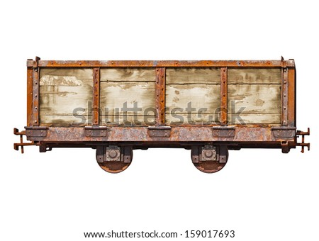 Vintage car for the narrow-gauge railway isolated on white background - stock photo