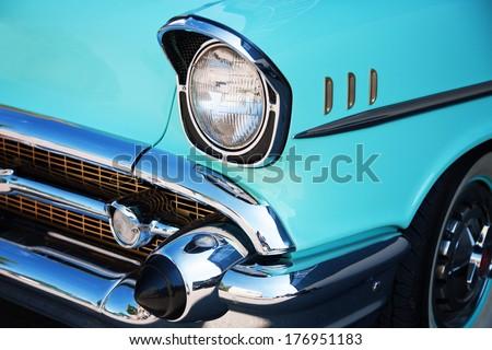 Vintage Car Front Detail - stock photo