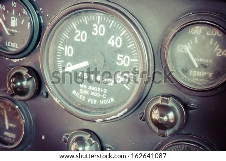Vintage car gauge meter - stock photo