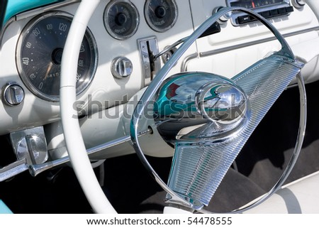 Vintage car interior - stock photo