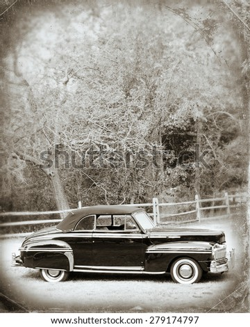 Vintage Car with texture overlay - stock photo