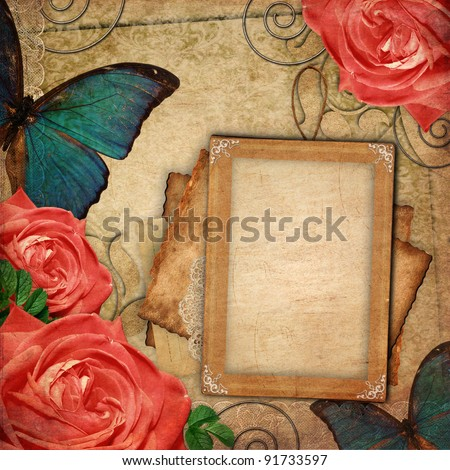 Vintage card for the holiday with flower on the abstract background - stock photo