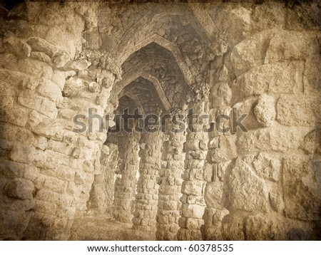 vintage card of stone columns in Park Guell, Barcelona - stock photo