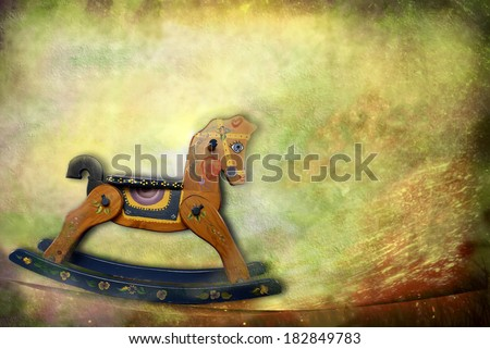 vintage card, old rocking horse - stock photo
