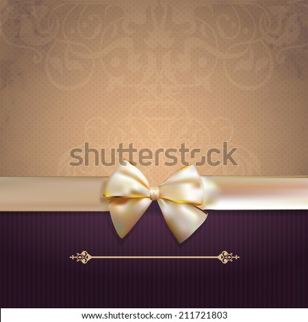 Vintage card with Bow. Retro Background. Illustration - stock photo