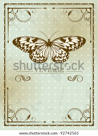Vintage card with butterfly - stock photo