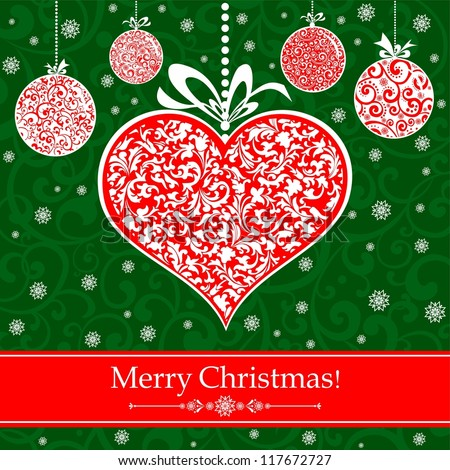 Vintage card with Christmas balls and heart. illustration - stock photo