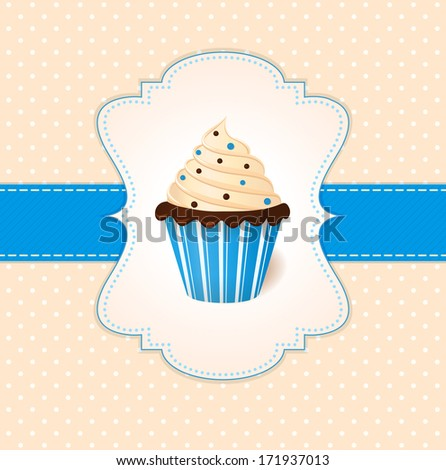 Vintage card with cream cake and color sprinkles - stock photo