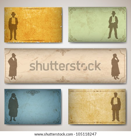 Vintage card with silhouettes old-fashioned women's and men. Raster version - stock photo
