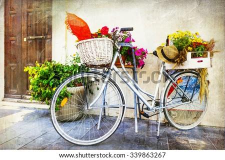 vintage cards - Old bike  - stock photo