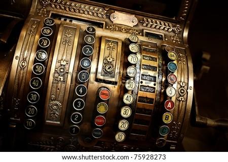 Vintage cash register - stock photo