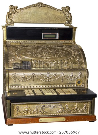 Vintage cash register isolated on white with clipping path - stock photo